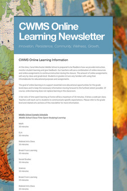 CWMS Online Learning Newsletter
