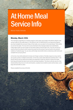 At Home Meal Service Info