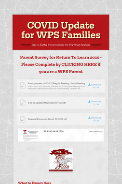COVID Update for WPS Families