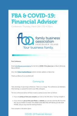 FBA & COVID-19: Financial Advisor