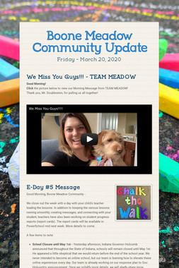 Boone Meadow Community Update