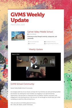 GVMS Weekly Update