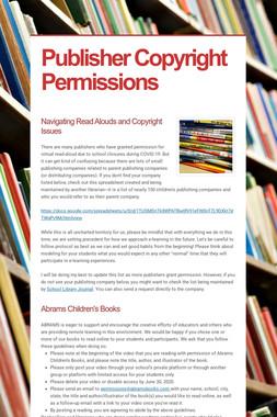 Publisher Copyright Permissions