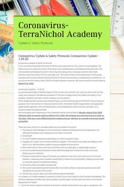 Coronavirus-TerraNichol Academy