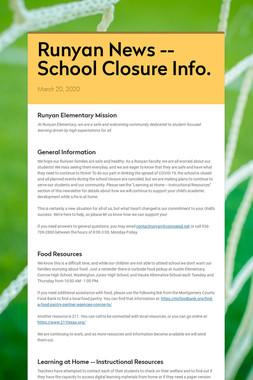 Runyan News -- School Closure Info.
