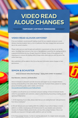 Video Read Aloud Changes