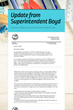 Update from Superintendent Boyd