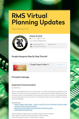 RMS Virtual Planning Updates