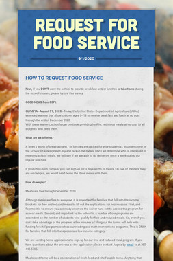 Request For Food Service