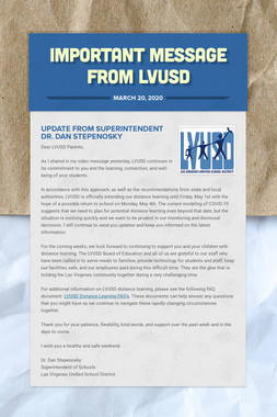 Important Message from LVUSD