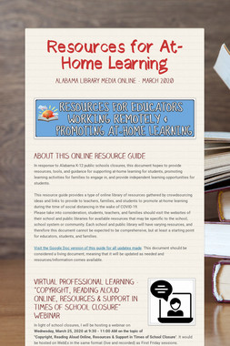 Resources for At-Home Learning