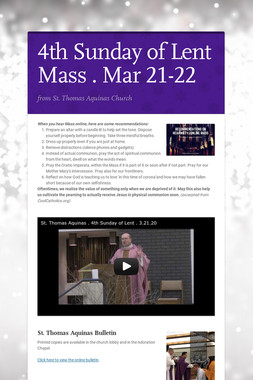 4th Sunday of Lent Mass . Mar 21-22