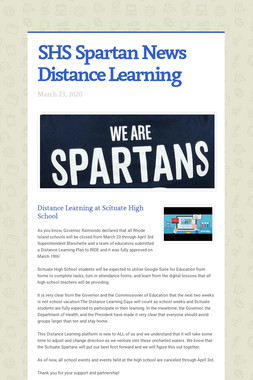 SHS Spartan News Distance Learning