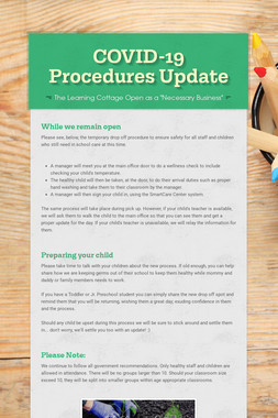 COVID-19 Procedures Update
