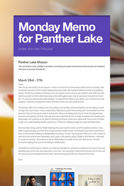 Monday Memo for Panther Lake