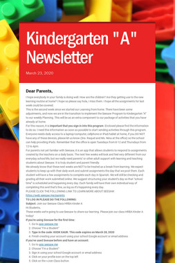 "Kindergarten ""A"" Newsletter"