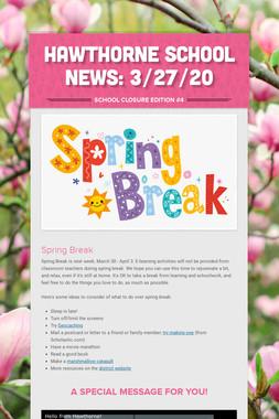 Hawthorne School News: 3/27/20