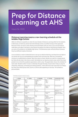 Prep for Distance Learning at AHS