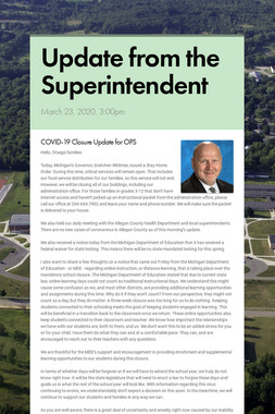 Update from the Superintendent