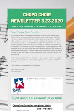 Chapa Choir Newsletter 3.23.2020