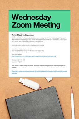 Wednesday Zoom Meeting