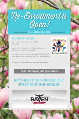 Re-Enrollment is Open!