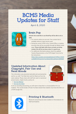 BCMS Media Updates for Staff