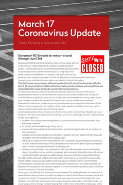 March 17 Coronavirus Update