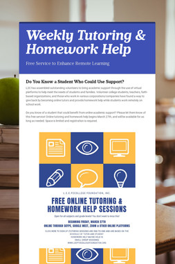 Weekly Tutoring & Homework Help