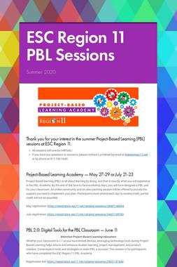 ESC Region 11 PBL Sessions