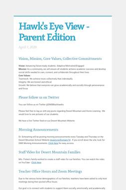 Hawk's Eye View - Parent Edition