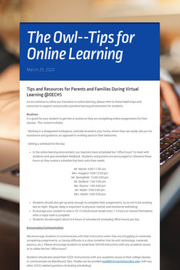 The Owl--Tips for Online Learning