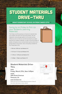 Student Materials Drive-Thru