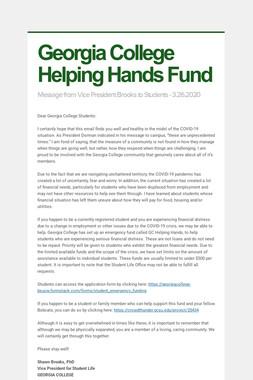 Georgia College Helping Hands Fund