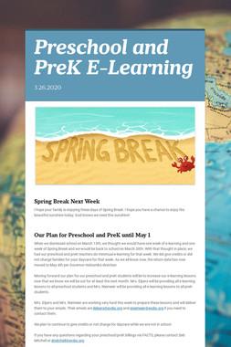 Preschool and PreK E-Learning