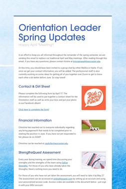 Orientation Leader Spring Updates