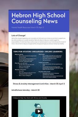 Hebron High School Counseling News