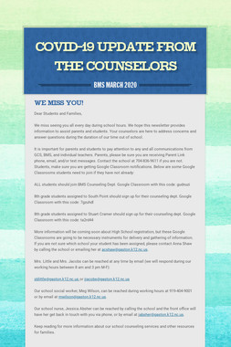Covid-19 Update From the Counselors