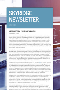 SKYRIDGE NEWSLETTER