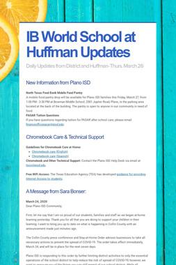 IB World School at Huffman Updates