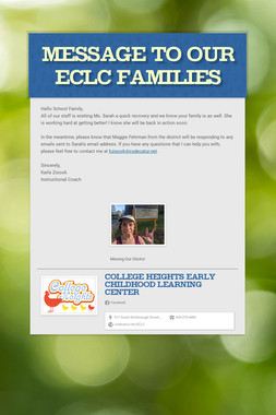 Message to our ECLC families