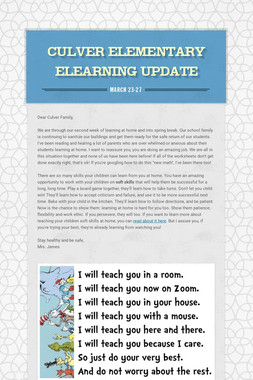 Culver Elementary ELearning Update