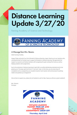 Distance Learning Update 3/27/20