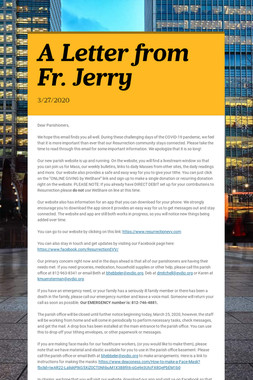 A Letter from Fr. Jerry