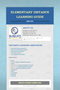 Elementary Distance Learning Guide