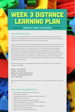 Week 3 Distance Learning Plan