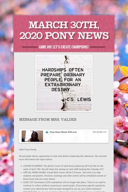 March 30th, 2020 Pony News