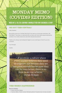 Monday Memo (COVID19 Edition)