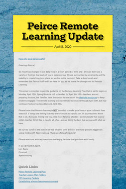 Peirce Remote Learning Update