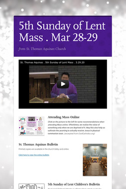 5th Sunday of Lent Mass . Mar 28-29